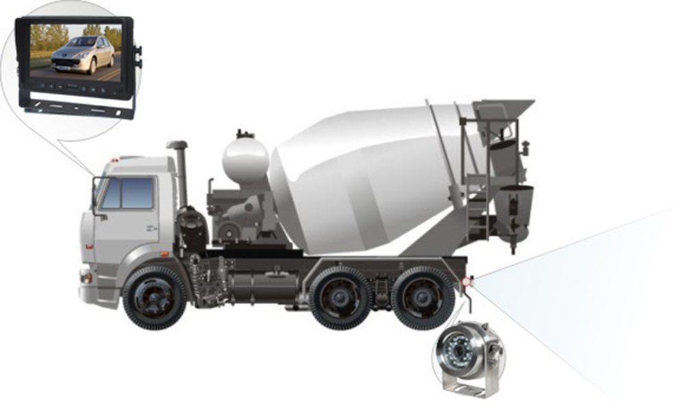 Rear view system for concrete mixer